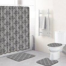 Занавеска для душа с принтом, 4 шт., покрытие для ковра, покрытие для унитаза, набор ковриков для ванной, занавеска для ванной комнаты с 12 крючками