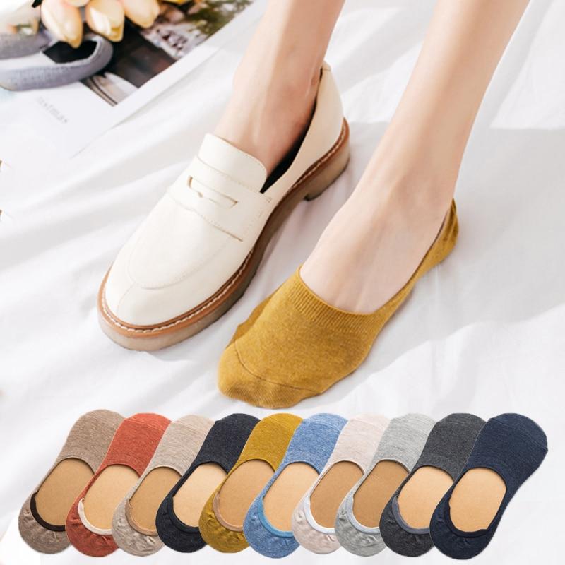 Women Cotton Invisible No Show Socks Non-slip Summer Solid Color Fashion Girls Ladies Ankle Thin Slipper Short Boat Socks
