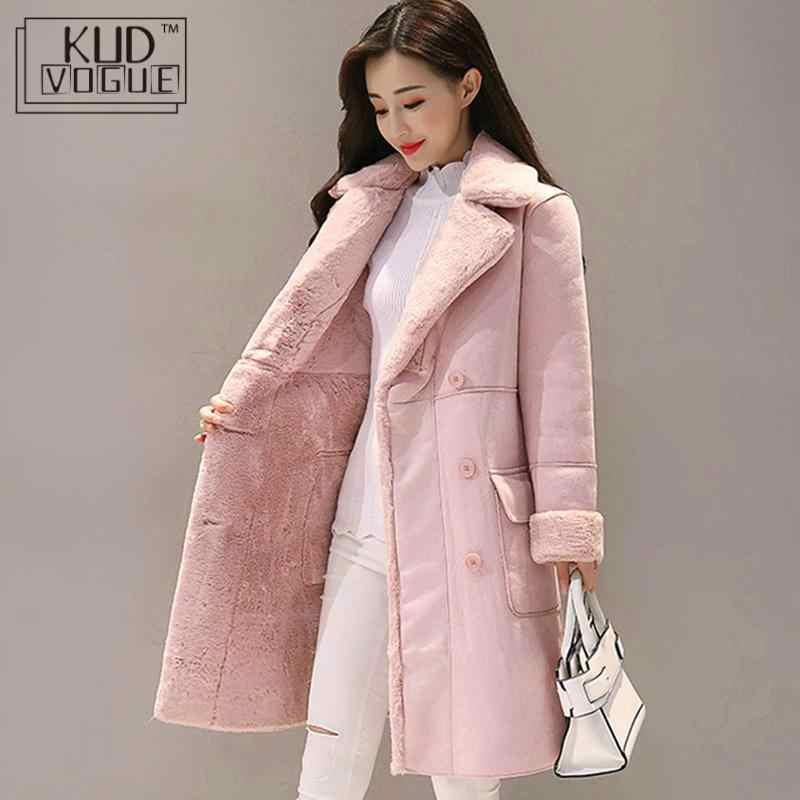 Women Suede Fur Winter Coat 2020 Fashion Thick Faux Sheepskin Long Jacket Overcoat Female Solid Warm Trench Coats