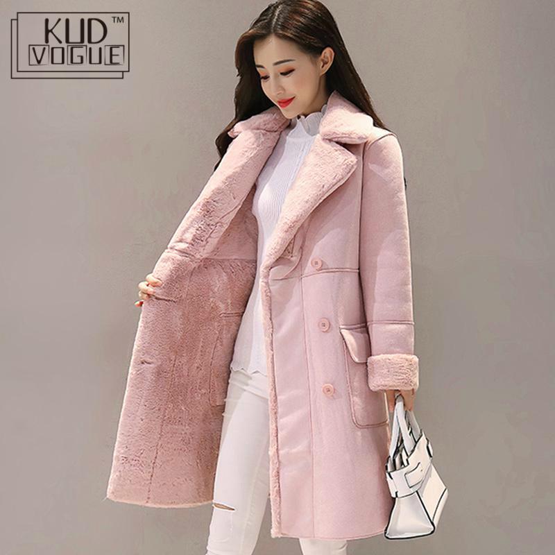 Женское замшевое меховое зимнее пальто 2018, модное плотное длинное пальто из искусственной овчины, пальто для женщин, однотонный теплый Тренч