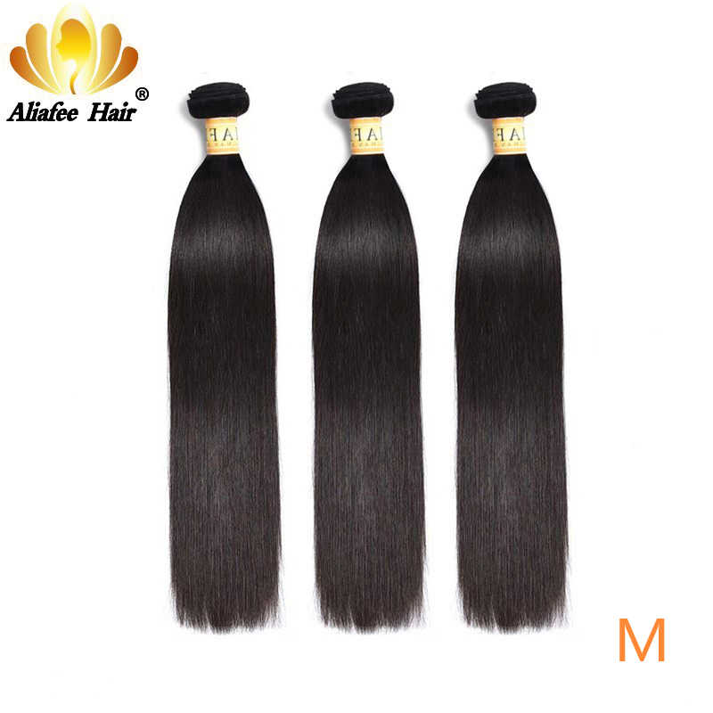 "Aliafee Brazilian Straight Hair Bundles Natural Color 100% Human Hair Weave Non-Remy Hair 3 Pieces 8""-30""Inches Hair Extension"