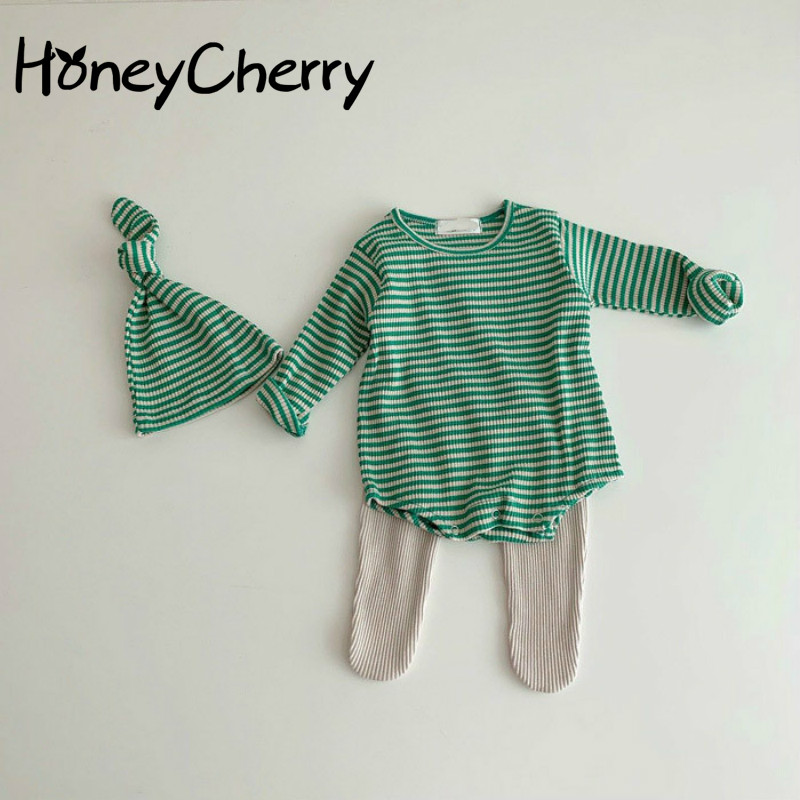 Spring Newborn Children's Bodysuit Creeper Suit Halter Stripe Boys And Girls' Pullover Cloth