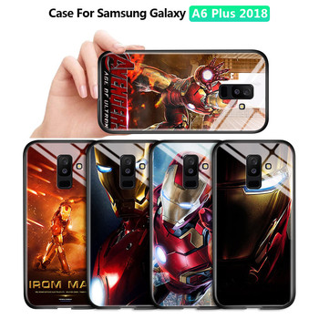 For Samsung Galaxy A6 A6 Plus 2018 Marvel Avenger Superhero Ironman Casing Gradient Cover Tempered Glass Case Casing image