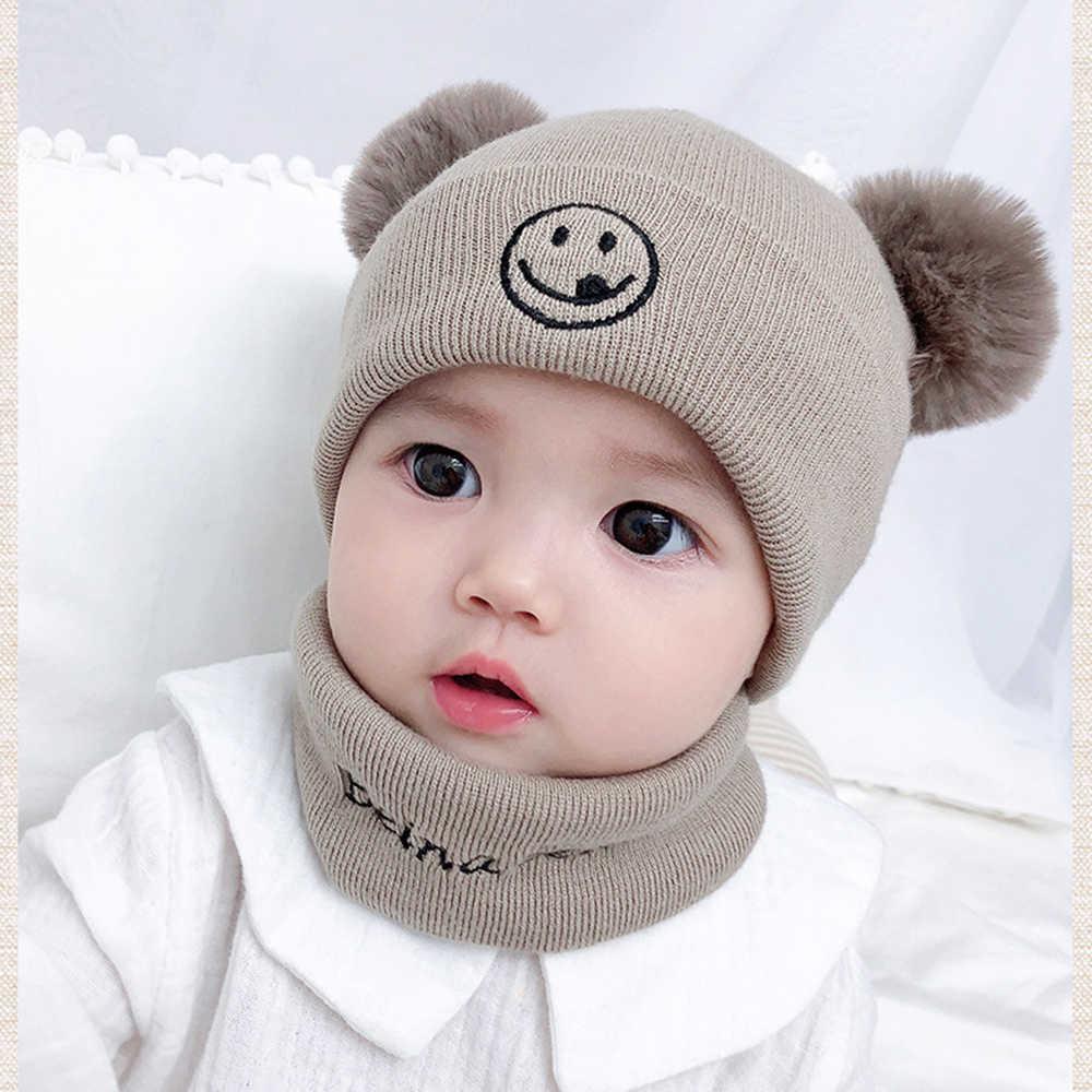 겨울 아기 모자 스카프 아이 솔리드 컬러 스트라이프 따뜻한 후드 earflap 소년 소녀 모피 pompons 모자 스카프