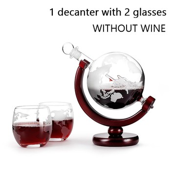 Whiskey Decanter Globe Wine Glass Set Sailboat Skull Inside Crystal Whisky Carafe with Fine Wood Stand Liquor Decanter for Vodka 7