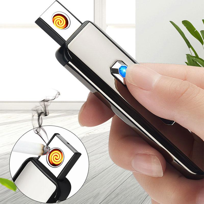 Модная USB Зажигалка с кнопкой для зарядки, электронная ветрозащитная зажигалка, лучшие подарки для женщин и мужчин Аксессуары для сигарет      АлиЭкспресс