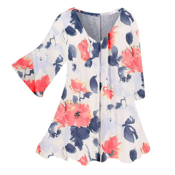 Kwiatowy nadruk t-shirty damskie Casual Sprint jesień V Neck z długim rękawem luźne Poleras Mujer De Moda 2021 kolorowe Tshirt tanie i dobre opinie REGULAR Sukno CN (pochodzenie) Na wiosnę jesień POLIESTER NONE tops Z KRÓTKIM RĘKAWEM Trzy czwarte Dobrze pasuje do rozmiaru wybierz swój normalny rozmiar