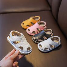 Summer Infant Sandals Baby Girls Boys Anti-collision Toddler Shoes Soft Bottom Genuine Leather Kids Children Beach Sandals