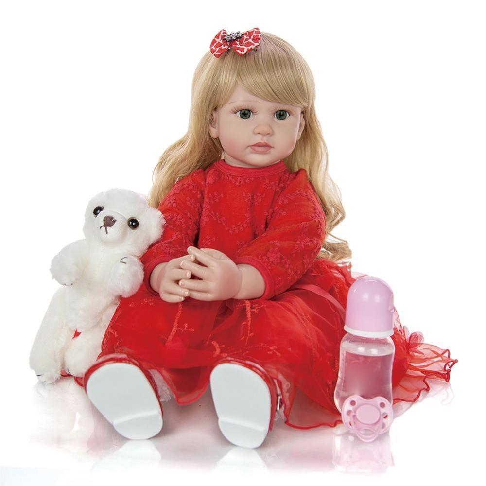 Elegant Rebirth Baby Girl <font><b>Doll</b></font> <font><b>60</b></font> <font><b>cm</b></font> Soft Vinyl Cloth Body Princess <font><b>Doll</b></font> Lifelike <font><b>Reborn</b></font> Kids Best Playmate image