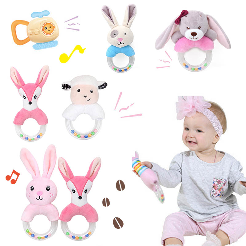 New Born Baby Stroller Plush Rattle Toys Bell Bed Infant Stroller Hanging Bell Educational Rattle Toys Styles Soft Toys Gift