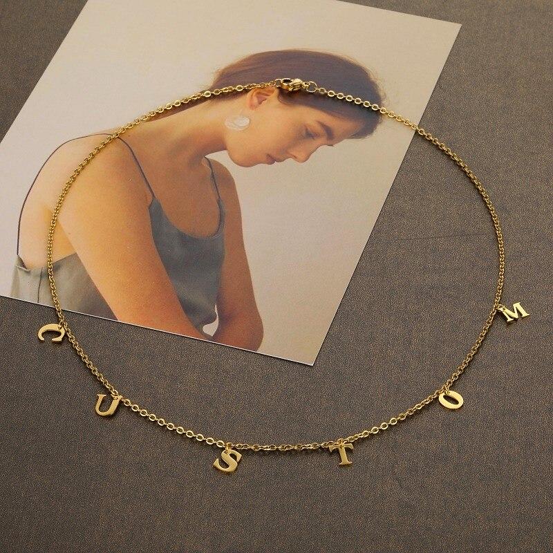 Ожерелье с именем на заказ, персонализированное ожерелье с инициалом, золотистый крошечный изящный чокер с надписью «сделай сам», ожерелья,...
