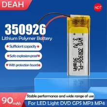 Bateria recarregável do íon do li-po li do polímero do lítio de 90mah 3.7v 350926 para a pilha lipo da câmera de bluetooth da tabuleta de mp3 mp4 mp5 gps dvd