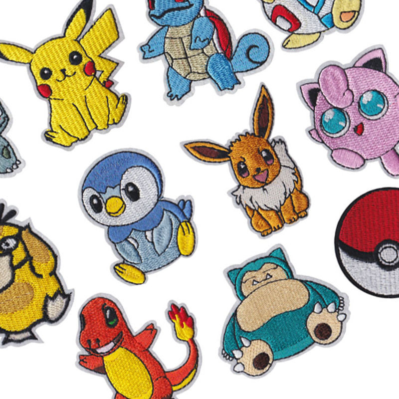 50Pcs Pokemon Patches for Clothing Iron on Patch Embroidery Sewing Applique Cute Sew on Fabric Badge 3D DIY Apparel Accessories