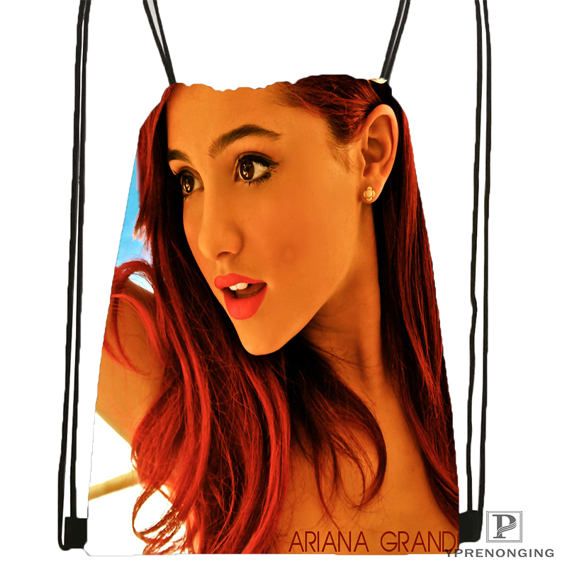 Custom Ariana Grande Drawstring Backpack Bag Cute Daypack Kids Satchel (Black Back) 31x40cm#180531-03-05