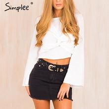 Blouse Shirt White Tops Simplee Women Flare-Sleeve Blusas Elegant Autumn Casual Summer