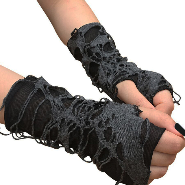 Punk Black Broken Slit Gothic Unisex Glove Fingerless Cuff Ninja Sport Hole Mitten 2021 Cool Women Men Hollow Out Rock Gloves 5