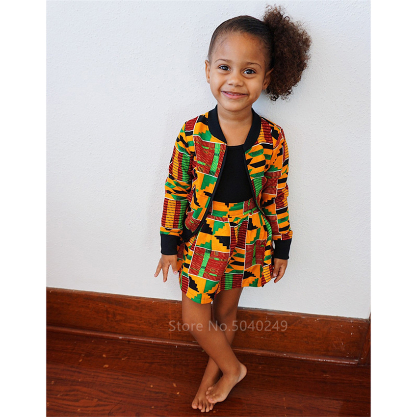 African Fashion Clothing 2020 New Kid Dashiki Print Bazin Full Sleeve Coat Autumn Baby Girl African Dresses For Women Streetwear