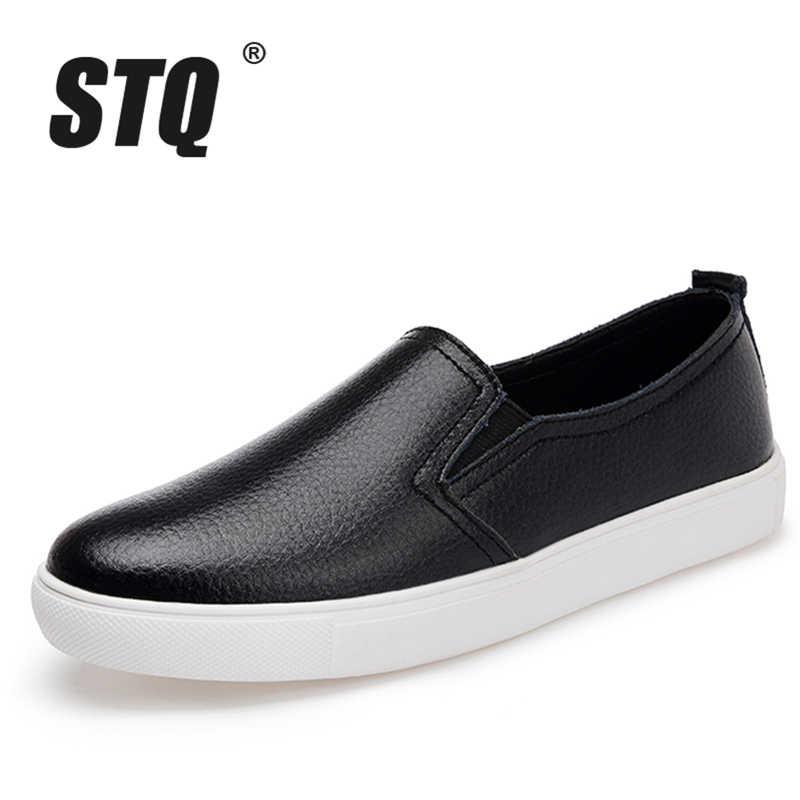 STQ 2019 Sonbahar kadın flats sneakers bale daireler oxfords ayakkabı kadınlar loafer'lar üzerinde kayma beyaz kesme konfor düz bot ayakkabı 6689