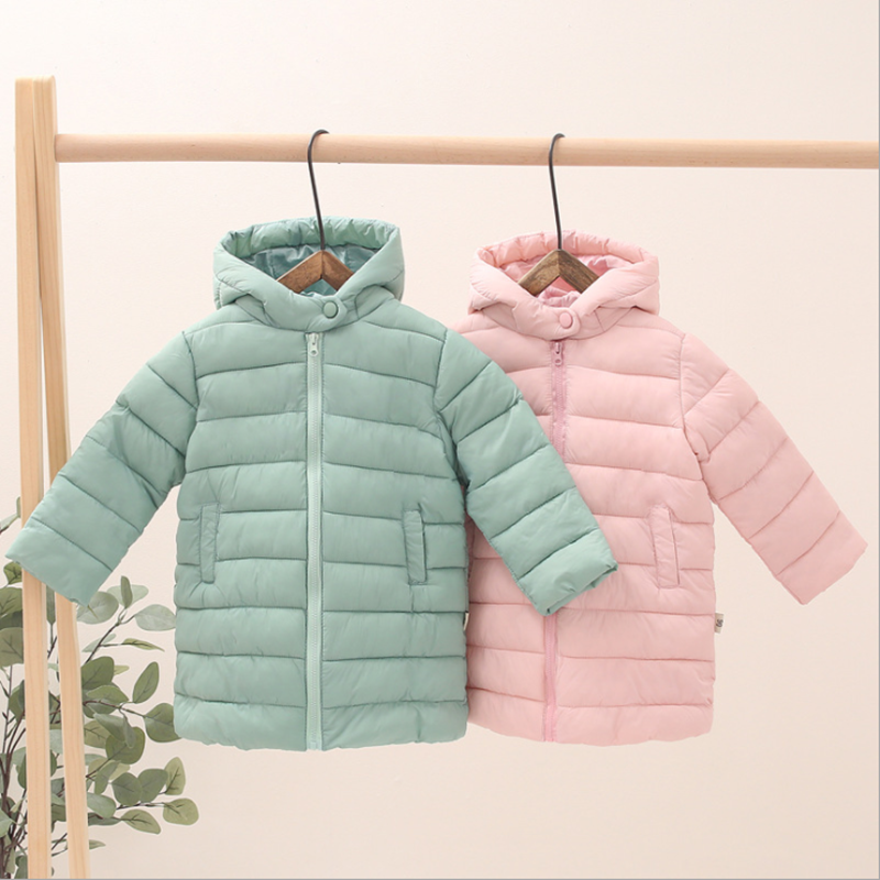 Children's down cotton and light lightweight boys and girls in the long coat winter warm jacket hooded coat 2-7 years old