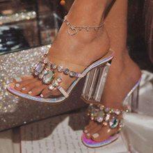 Bayanlar terlik topuklu Rhinestone şeffaf sandalet kadın yaz 2021 düğün kristal ayakkabı katır tıknaz topuk Peep-Toe ayak boyutu 43