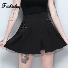 Fitshinling Goth Dark Pleated Shorts Skirts Women 2019 Harajuku Black Slim High Waist Short Mujer Grunge Mesh Patchwork Bottoms