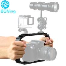 Gaiola para câmera de dji osmo action/yi/eken, para smartphone gopro 7 6, suporte para vídeo suporte estabilizador de aderência,