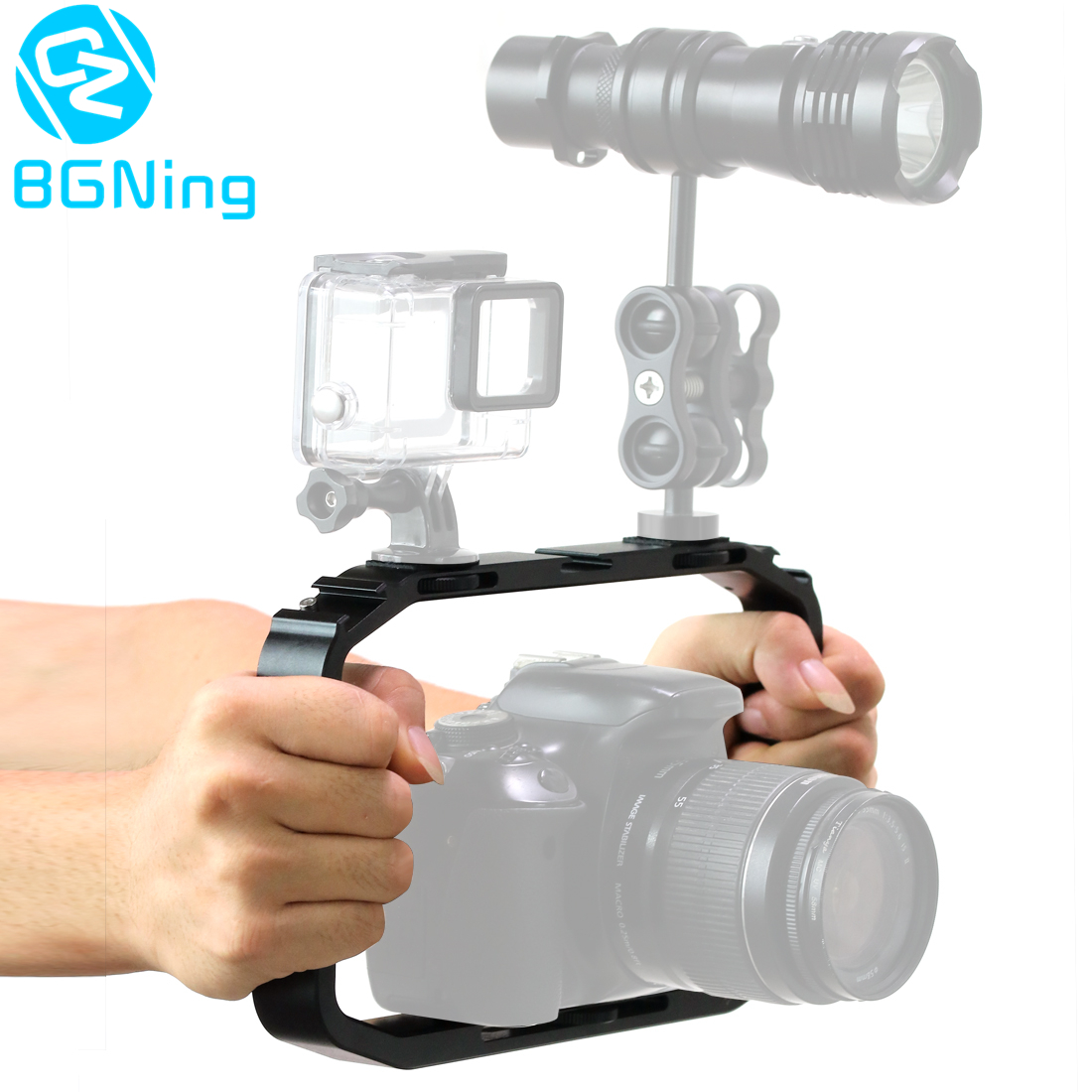 Handheld Camera Cage for DJI OSMO Action/YI/EKEN for Gopro 7 6 Smartphone Stand Holder Video Vlog Grip Stabilizer Rig Bracket
