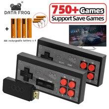 Data Frog – Mini Console de jeux vidéo rétro, sans fil, USB, avec 1700 jeux intégrés, NES 8 Bit