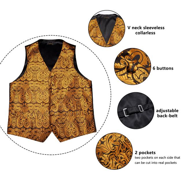 Men's Waistcoat With Tie, Tie Ring, Handkerchief And Cuff-links.