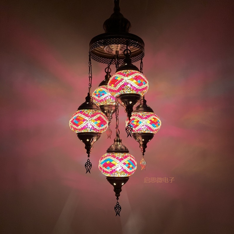 <font><b>5</b></font> Heads Turkey ethnic customs handmade Mosaic lamp romantic Hotel cafe restaurant <font><b>bar</b></font> <font><b>Pendant</b></font> <font><b>light</b></font> living-room balcony stairs image