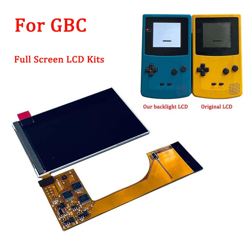 IPS Full Screen LCD Backlight Kits For Nintendo Gameboy Color Ips Backlight Lcd For GBC Game Console LCD Screen With Glass Lens