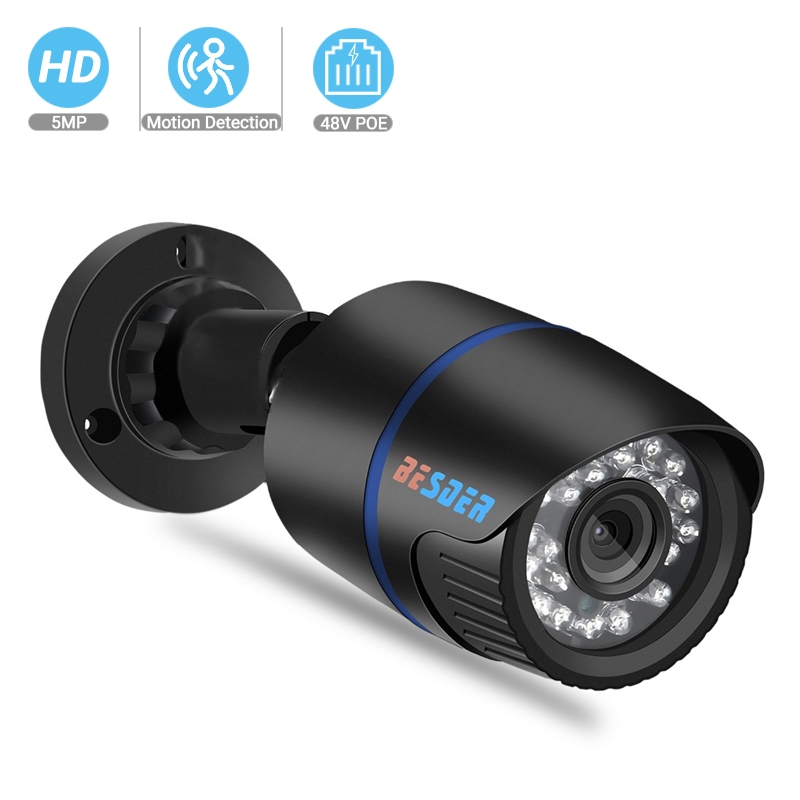 BESDER H.265 IP POE Security Camera 5MP 3MP 2MP Outdoor Waterproof Video Surveillance Camera H.265 Network Camera Motion XMEye