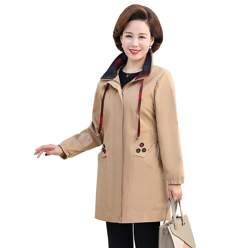 2020 Plus Size 5XL Spring Autumn Women's Trench Coat Cotton Outerwear Casual Tops Middle Aged Mom Clothes Loose Overcoat 3265