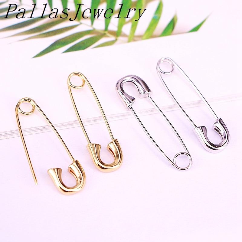 Pino de Segurança Pares Ouro Prata Cor Simples Metal Chapeado Paperclip Moda Elegante Feminino Jóias Brinco 8 –
