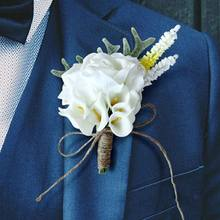 Artificial Calla Lily Boutonniere Groom Groomsman Wedding Flower Corsage Brooch Pin Cute Antlers Decor Party Prom Suit Decor(China)