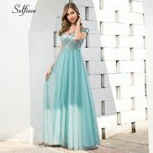 Сексуальное синее Макси платье для женщин с рюшами v образным
