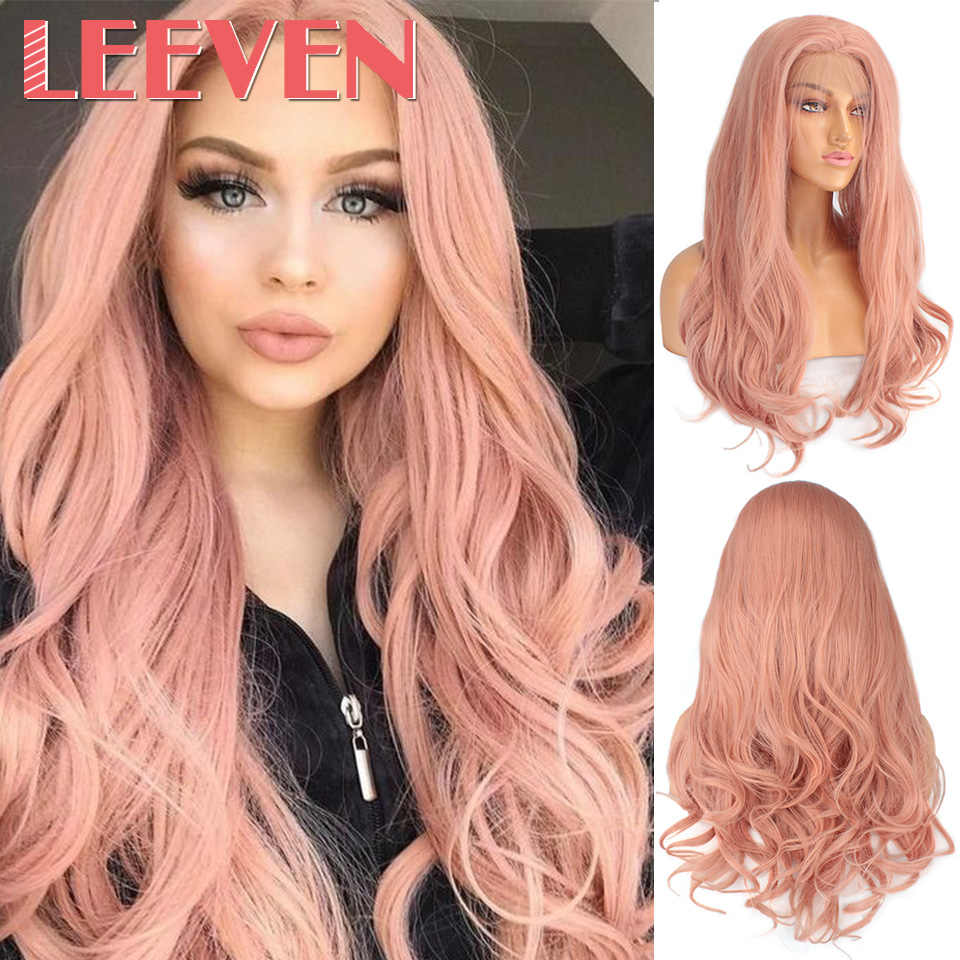 Leeven 24'' Pink Purple Copper Synthetic Lace Front Wig Long Wavy Wigs For Woman 613 Blonde Ginger Wig perruque Female Hair