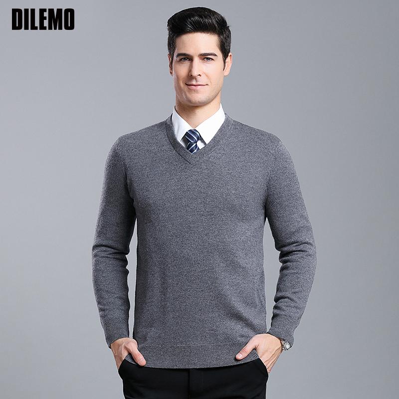 6% Wool New Fashion Brand Sweater For Mens Pullovers V Neck Solid Color Jumpers Knitwear Autumn Slim Fit Casual Clothing Male