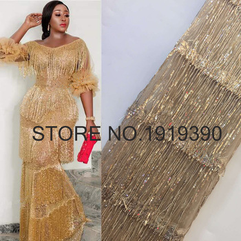 3D Tassel Sequined Lace African Lace Fabric 2020 High Quality Lace with Sequins,Latest Net Nigerian Lace Fabrics for Party Dress