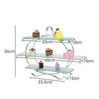 Stainless steel three layer afternoon tea snack rack cake rack with glass fruit plate buffet set stand