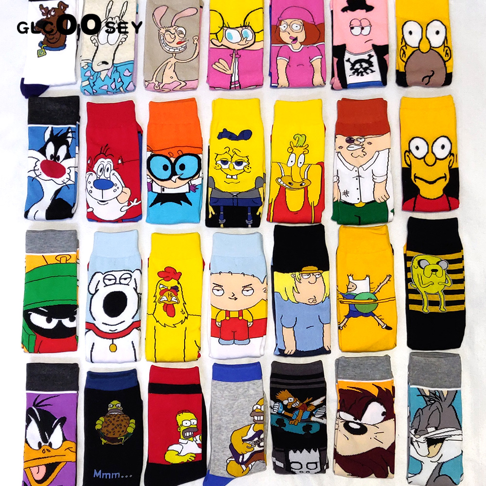 Funny Cartoon Anime Print Socks Patrick Star Personalized Novelty SOCKS Men Women Breathable Cotton Hip Hop Sock Gifts For Men