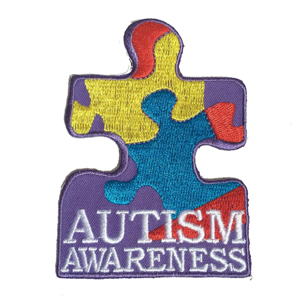 Racing Patches Embroidered Autism Awareness For Garment 2.5*3.5inch Heat Cut Iron-on Backing Free Shipping