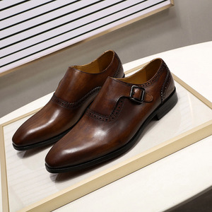 Image 4 - FELIX CHU Men Dress Shoes Plain Toe Genuine Leather Brown Hand Painted Buckle Monk Strap Business Office Mens Formal Suit Shoes