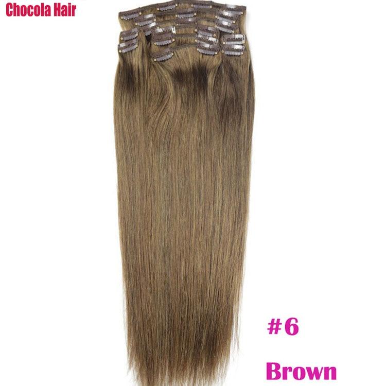 Chocola, бразильские волосы remy на всю голову, 10 шт. в наборе, 280 г, 16-28 дюймов, натуральные прямые человеческие волосы для наращивания на заколках - Цвет: #6