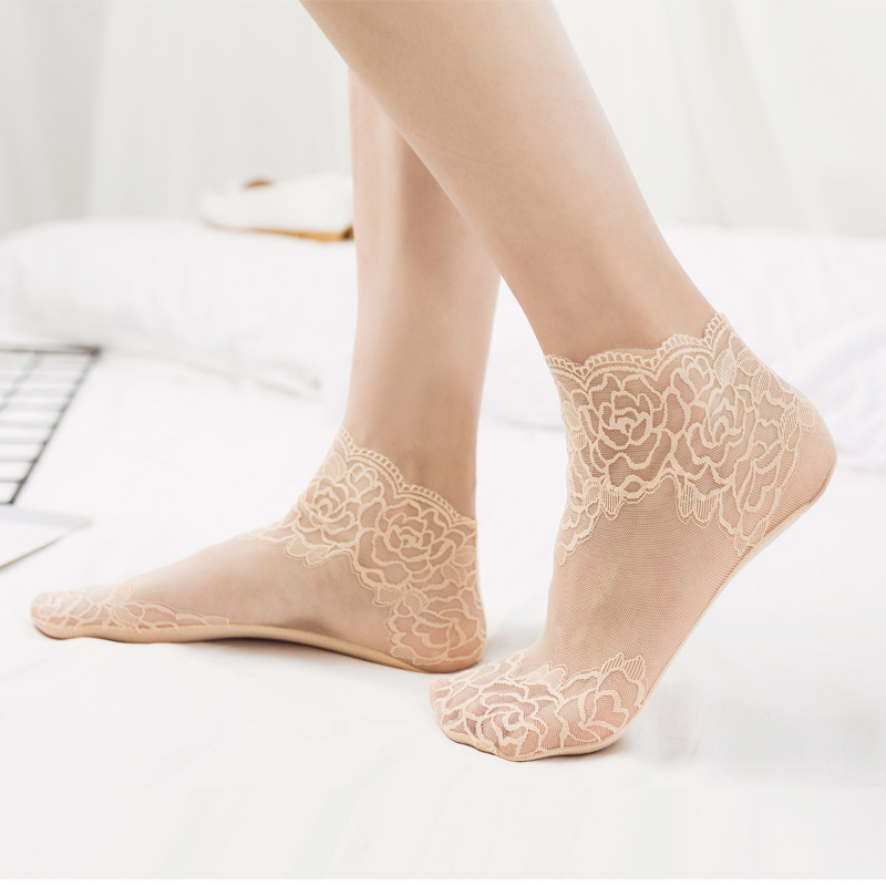 Hbe3dda48448b4072aa16c86008215847L - Women Printing Fishnet Ankle Transparent Socks Lady Spring Summer Girl Female Sexy Fashion Lace Fish Net Short Sock Mesh Hosiery
