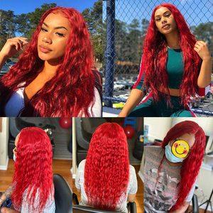 Image 5 - ברזילאי מים גל אדום חבילות עם סגירת בורדו אדום שיער טבעי Weave צבעוני חבילות עם סגירת 99J PINSHAIR רמי שיער