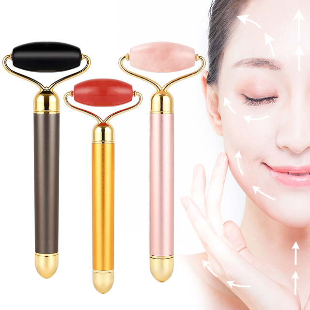 Electric Rose Quartz Roller Face Slimming Lifting Massager Natural Jade Stone Facial Vibration Roller Skin Beauty Care Tool 1