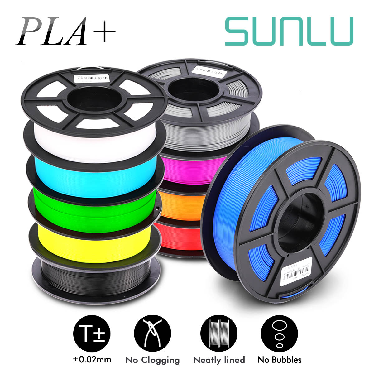SUNLU 1.75mm PLA PLUS Filament 1KG Accuracy Dimension +/-0.02mm Multi-colors For Choose 3D Printer Filament