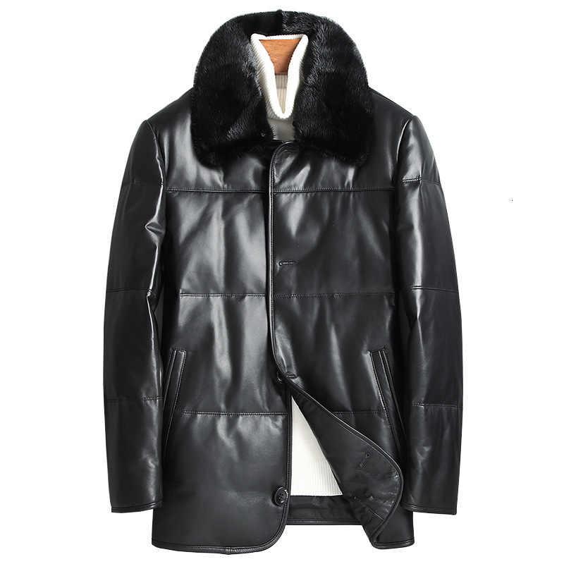 Veste en cuir véritable hiver manteau en cuir véritable col de fourrure de vison vestes en peau de mouton Chaqueta Cuero Hombre 81X8701 YY263