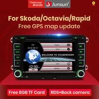 Junsun-Radio Multimedia con GPS para coche, Radio con reproductor DVD, 2 din, 7 pulgadas, navegador, estéreo, para VW/Skoda/Octavia/Fabia/Rapid/Yeti/Seat/Leon